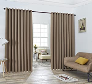 Nicole - 2 Wall-to-Wall Blackout Grommet Curtains Panels with Tiebacks - Total Size 216 Inch Wide (108 Each Panel) - 108 Inch Long - Solid Thermal Insulated (108