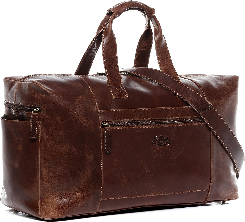 SID & VAIN® Bolsa de Viaje tamaño Grande Bristol Bolso de Deporte Fin de Semana Maletín Weekender Equipaje de Mano Cabina Piel marrón
