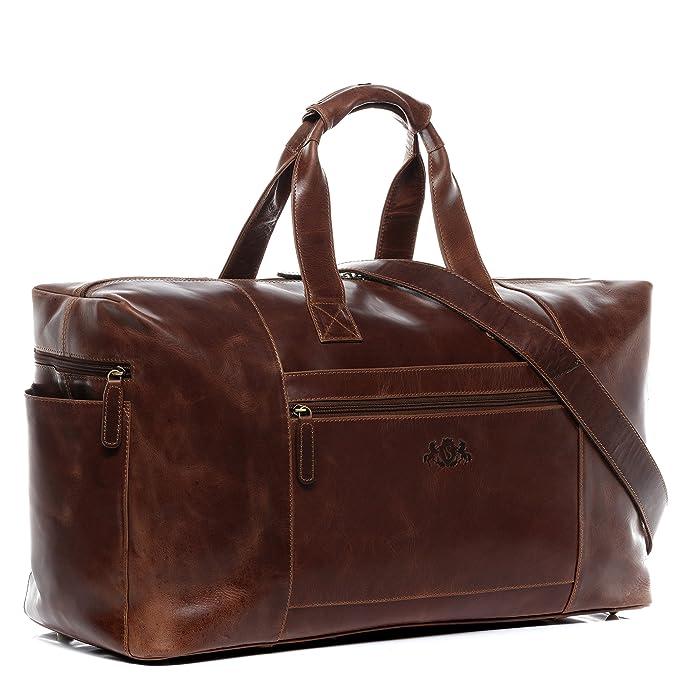 SID & VAIN® sac de voyage YALE - grand fourre-tout besace week-end - sac sport bagages cabine à main sac homme châtain clair sac cuir 9gtlDO