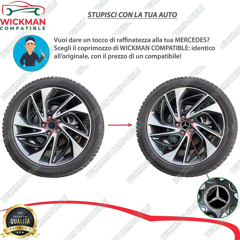 75 mm Diameter Matt black color Universal Hubcap Mercedes-Benz by Wickman Compatible Chrome Logo