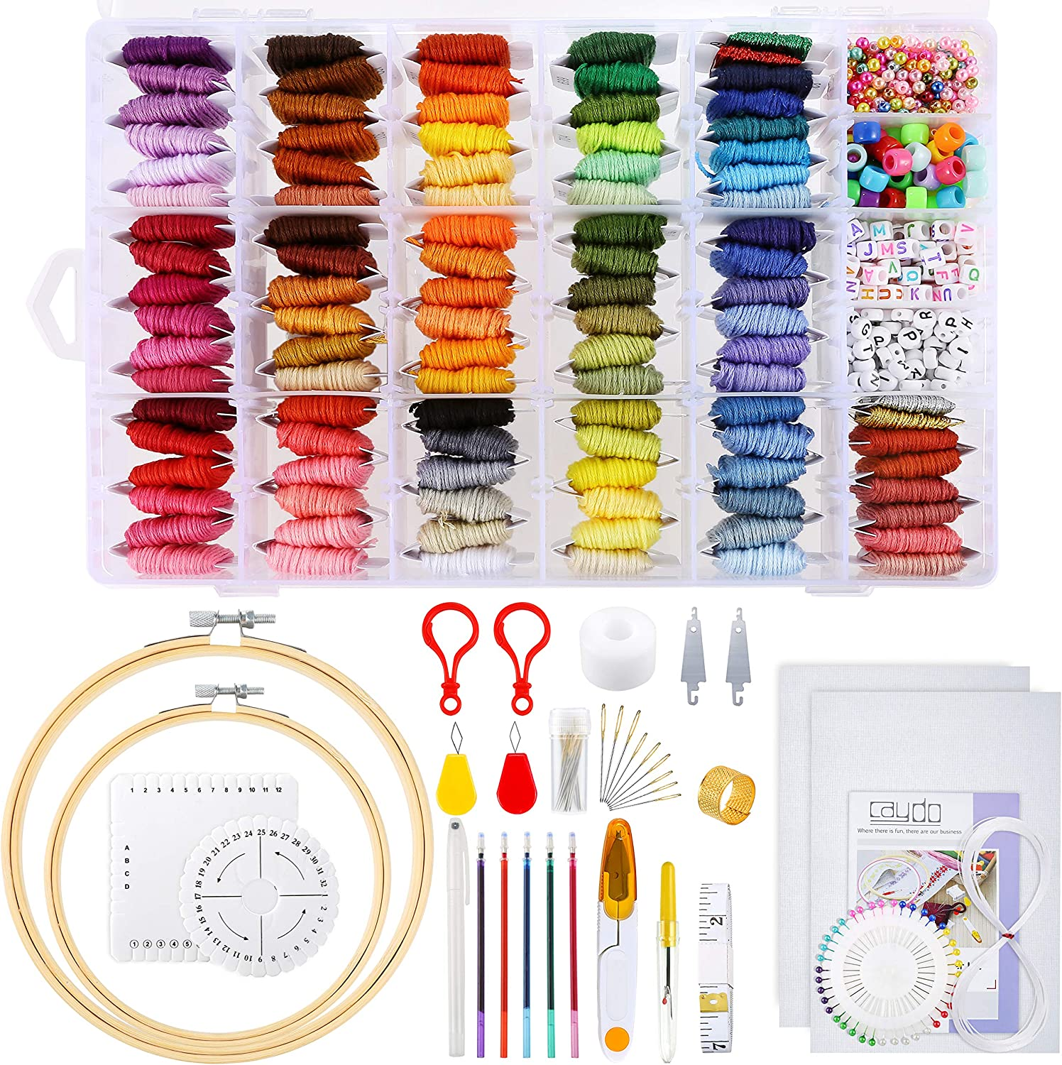 Caydo Bracelet Making Beads Embroidery Kit Embroidery Hoops and Letter Beads for Adults and Kids Beginners with 100 Color Threads with Organizer Box Aida Cloth
