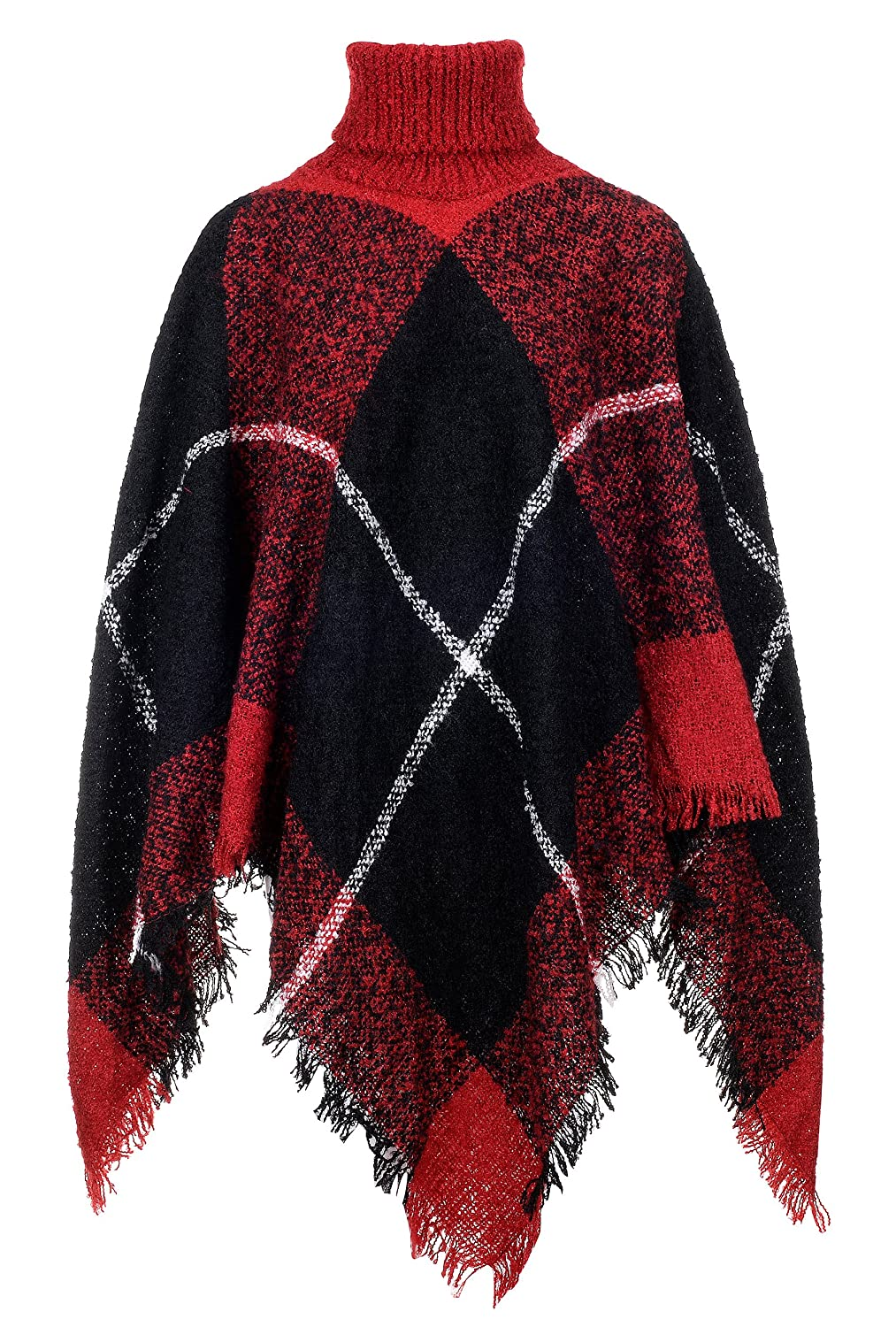 QZUnique Women Poncho Sweater Knit Turtleneck Cape Pullover Shawl Tassels Plaid GBD-MMY-WM69136-Heise