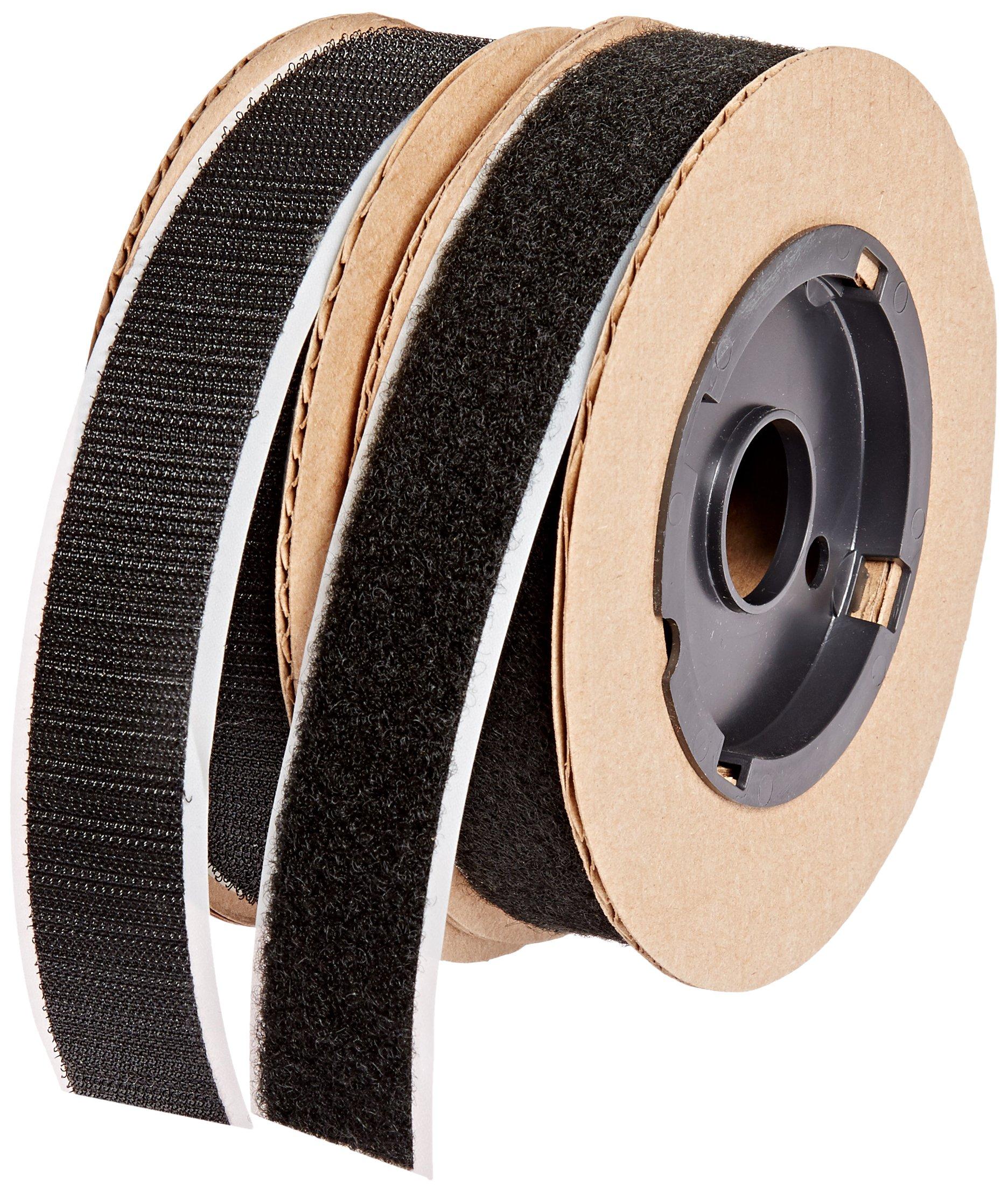 VELCRO 3804-SAT-PSA/B Black Super Adhesive Nylon Hook and Loop Combo Pack, 0132 Adhesive Backed, 1'' Wide, 15' Length