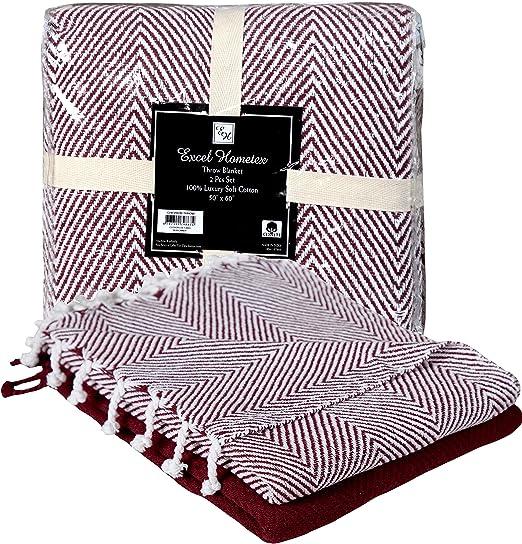 100/%  Cotton Chevron Burgandy Excel Hometex 50x60 Inch Set of 2 Throw Blanket