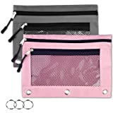 Binder Pencil Pouches-2 Pack 3 Ring Pencil Pouch with Zipper Pulls Double Pockets Pencil Case with Clear and Mesh Window…