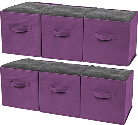 Greenco Foldable Storage Cubes Non Woven Fabric  6 Pack (Purple)