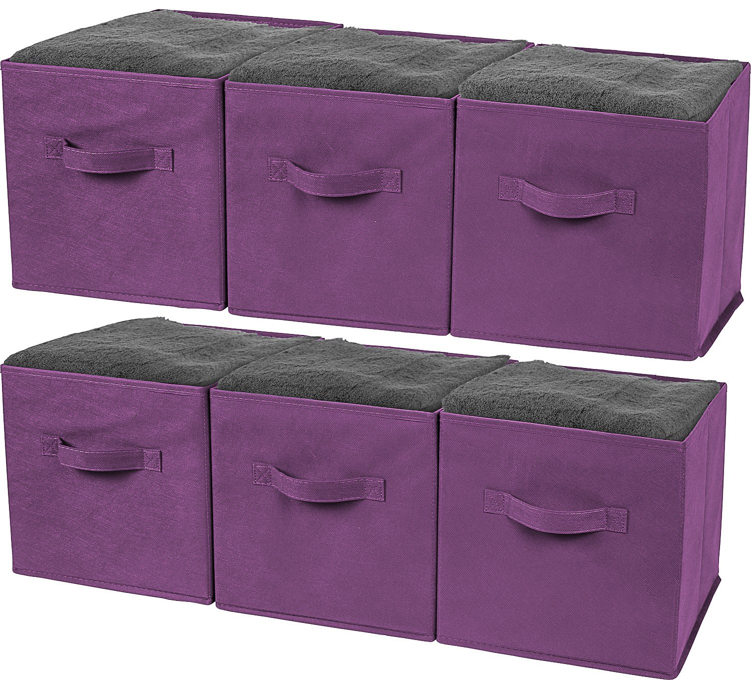 Greenco Foldable Storage Cubes Non-woven Fabric -6 Pack-(Purple)