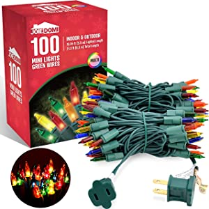 Joiedomi 100-Count Multi Color Christmas Light, Clear Bulbs Xmas Light for Outdoor/Indoor Christmas Decorations