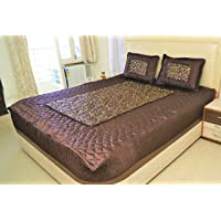 ManavRachit Satin 3 Piece Bedding Set 1 Double Bed Bedsheet, 2 Pillow Cover - Pack of 3 Pcs