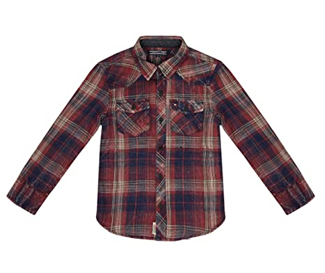 d4dff71f5e91 Tommy Hilfiger Boy's Brattle Check Shirt Red 7 Years: Amazon.co.uk ...