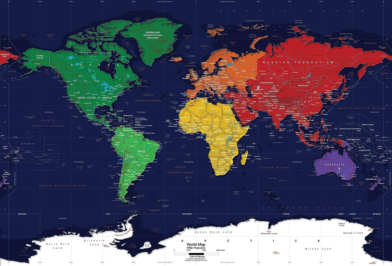 Academia Maps - World Map Wall Mural - Dark Oceans - Pre ...