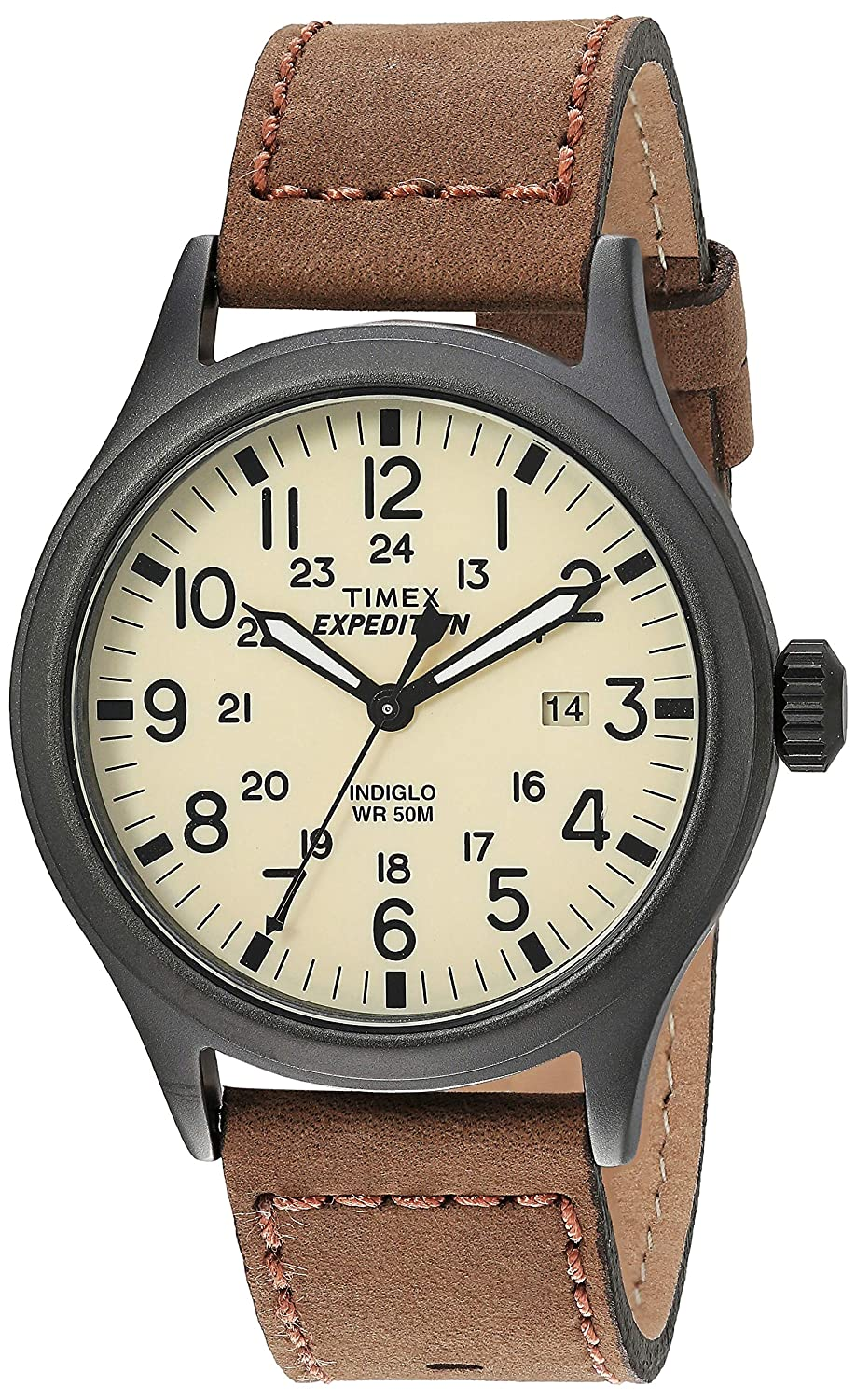 902e5ccbdd03 Amazon.com  Timex Men s T49963 Expedition Scout Brown Leather Strap Watch   Timex  Watches