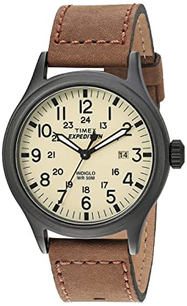 ab2289465763 Amazon.com  Timex Men s T49963 Expedition Scout Brown Leather Strap ...