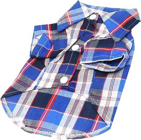 YAODHAOD Camisa de Cuadros para Perro,Cierre de Botones, Fácil de Poner y Quitar, Camisa para Gatos, Adecuada para Ropa Pequeña y Mediana para ...