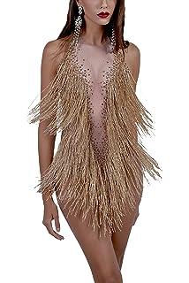 c86e95165deb Charismatico Gold Fringe Tassel Sexy Salsa Mambo Latin Dance Leotard Romper  Dress US 0-6