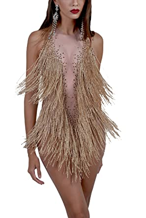 fdec845a9e51 Image Unavailable. Image not available for. Color  Charismatico Gold Fringe  Tassel Sexy Salsa Mambo Latin Dance Leotard Romper Dress ...