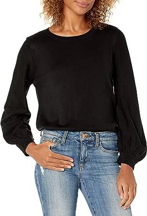Calvin Klein Women's FINE Gauge Volume Sweater, Black, M