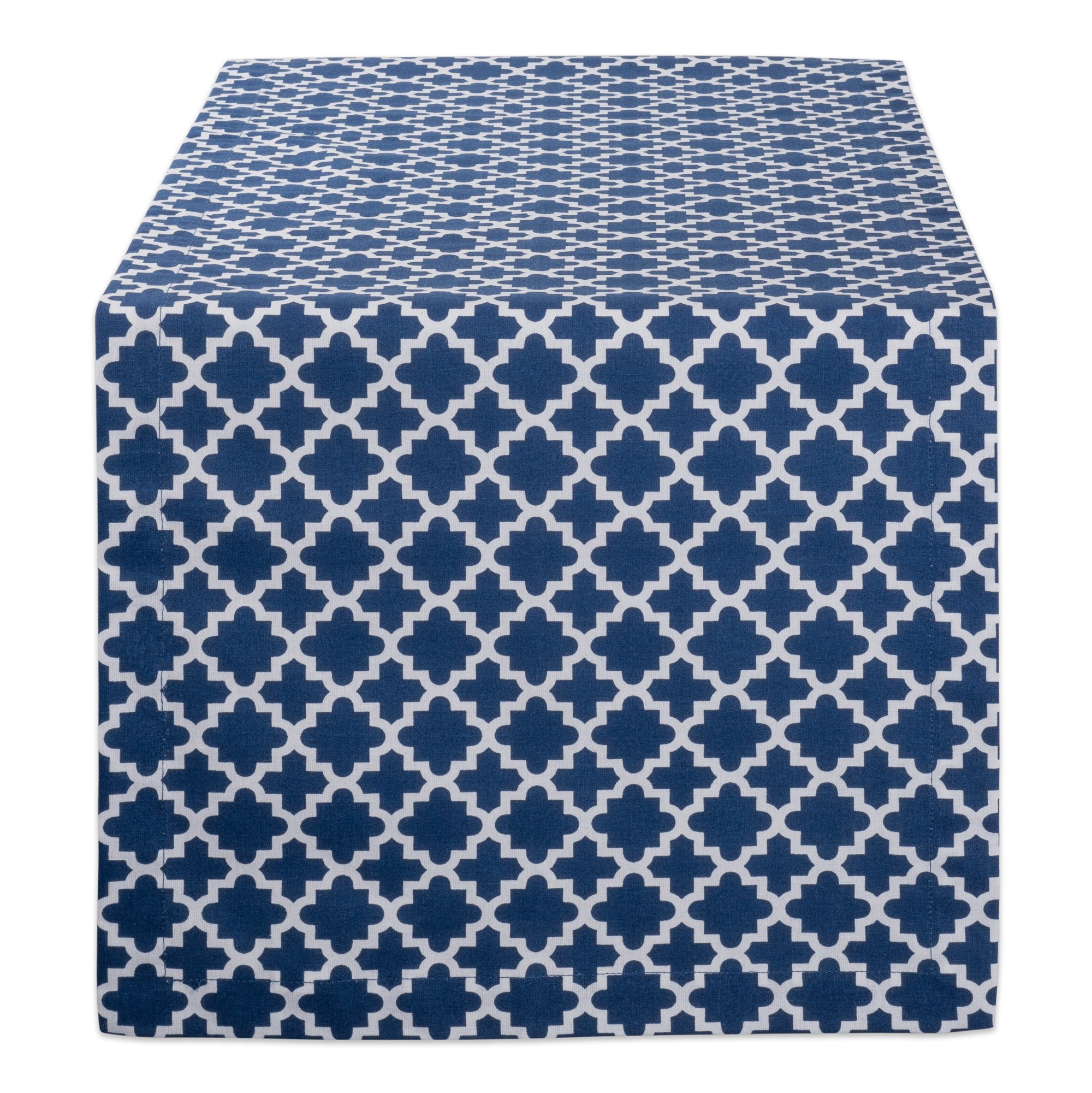 DII Lattice Cotton Table Runner for Dining Room, Foyer Table, Summer Parties and Everyday Use - 14x108'', Nautical Blue and White by DII (Image #1)
