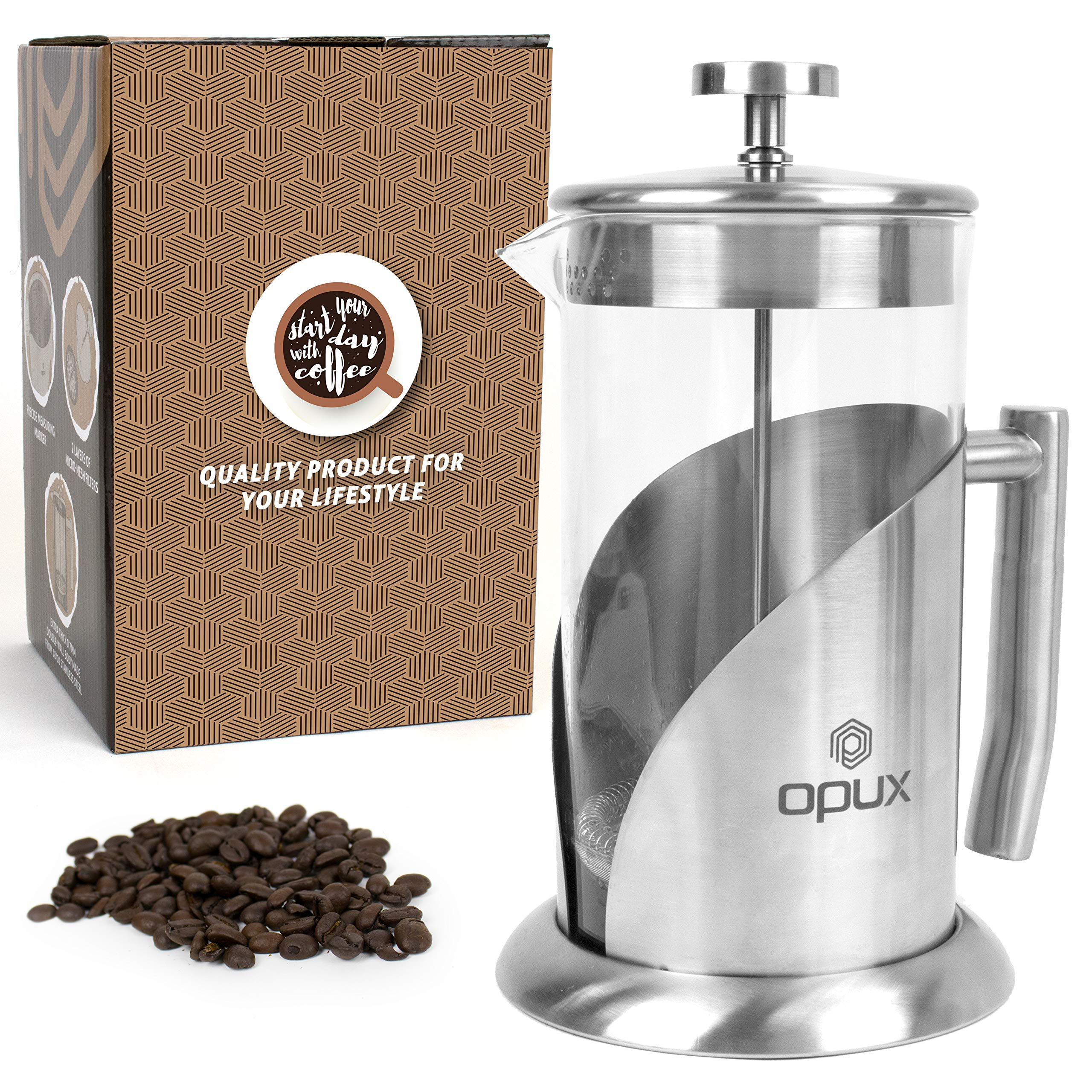 OPUX Premium Insulated French Press with 4 Layer Filtration System | 4 Cup Stainless Steel Coffee Press for Pour Over, Espresso | Borosilicate Glass (34 fl oz)