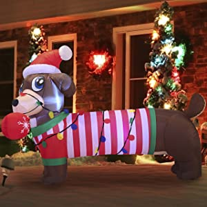 Joiedomi Chrsitmas Puppy Inflatable 6 FT Christmas Inflatable Decoration with Build-in LEDs Blow Up Inflatables