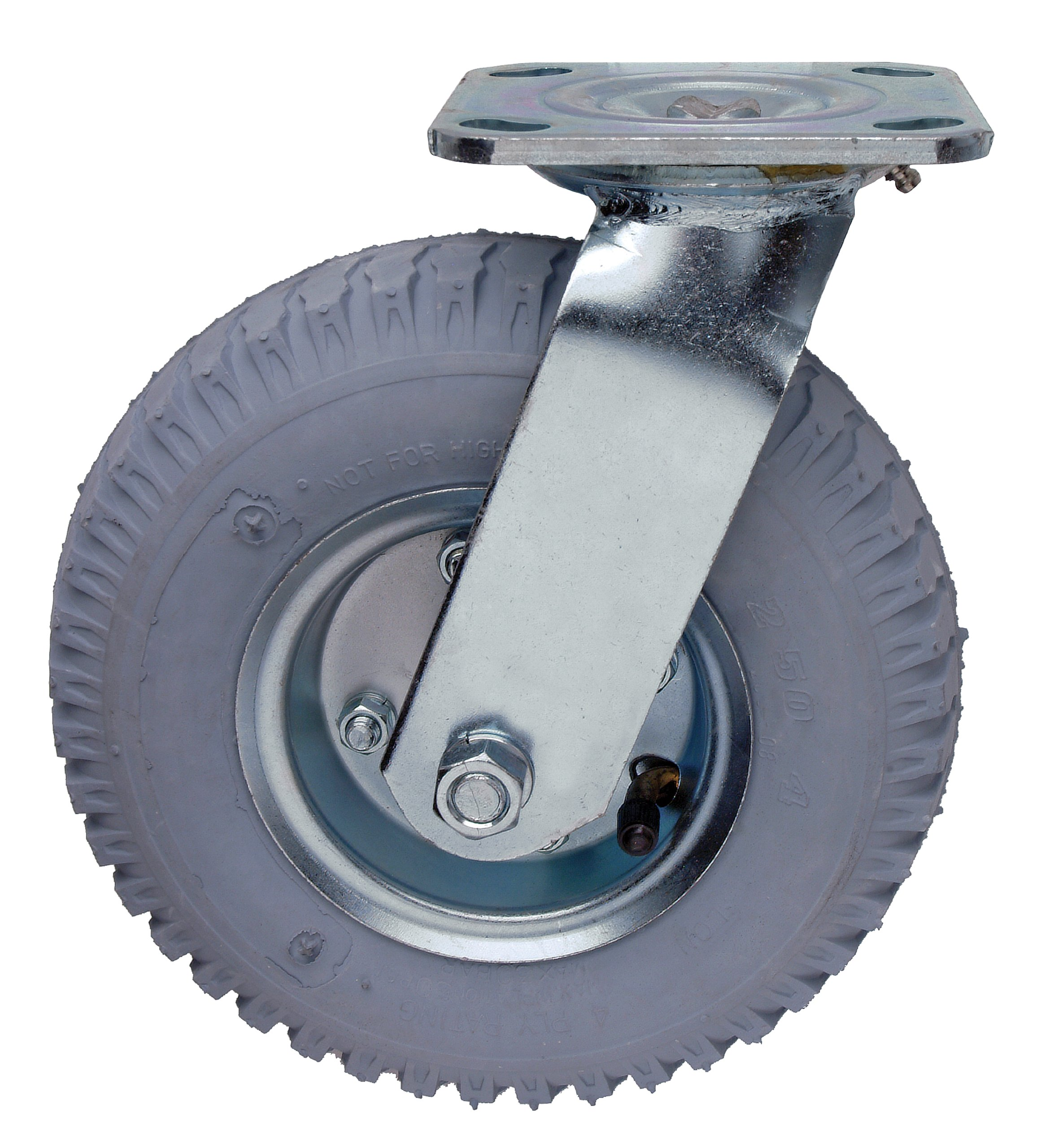 Quantum Storage Systems PT-NS 2-1/2 Diameter Pneumatic Wheel One Swivel Plate Caster, 325 lbs Capacity