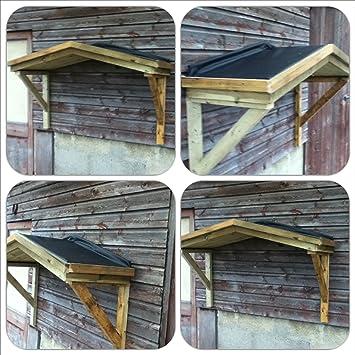 Al aire libre de madera de goma techo plano porche con listo para colgar en la pared: Amazon.es: Jardín