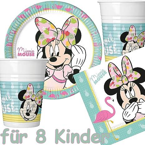 2f2c6f694773f 37 Set Party * Minnie Mouse - Tropical * avec assiette + Gobelet + ...