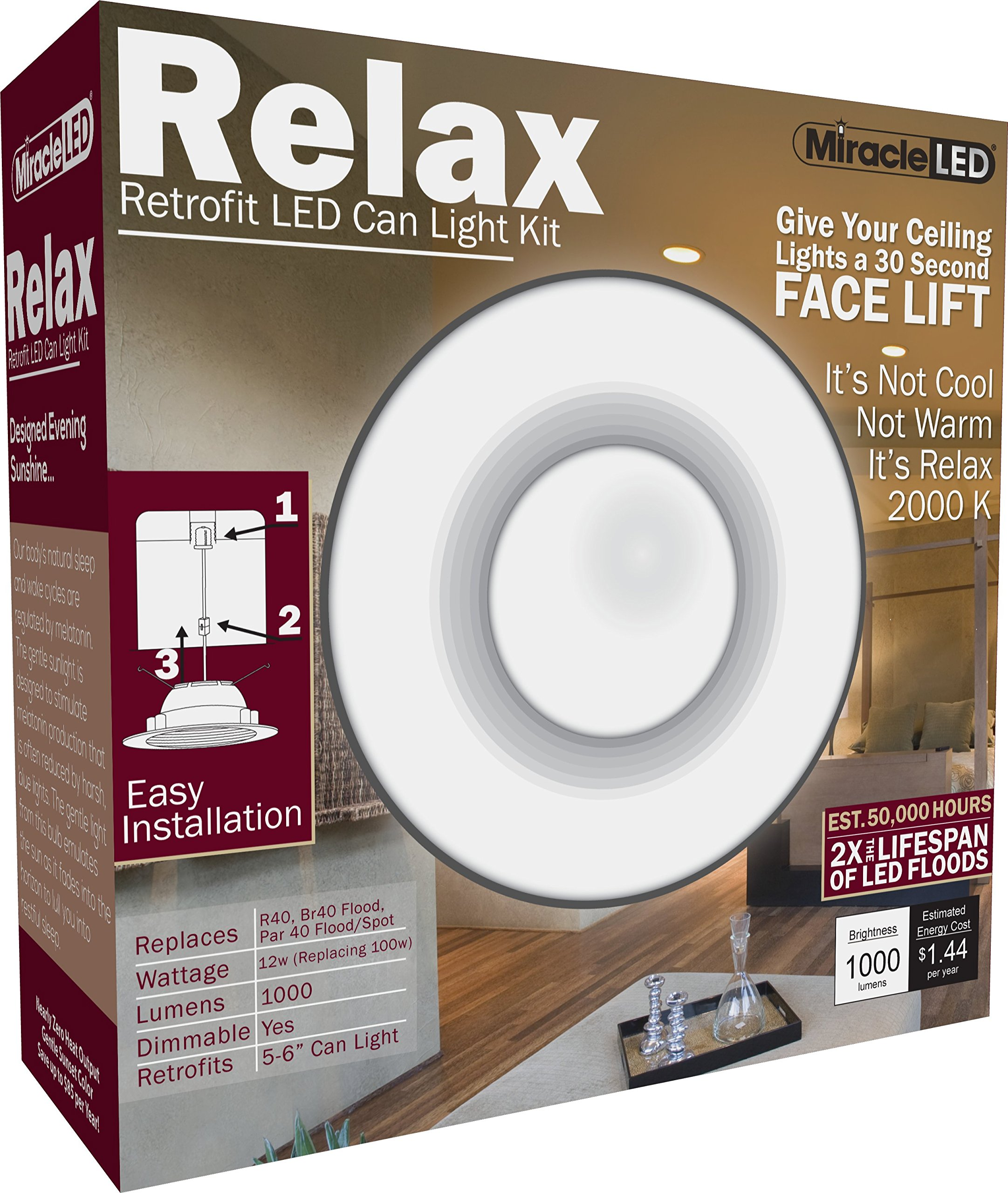 MiracleLED 604621 Relax Down Light, 5-6'', Sunset Glow