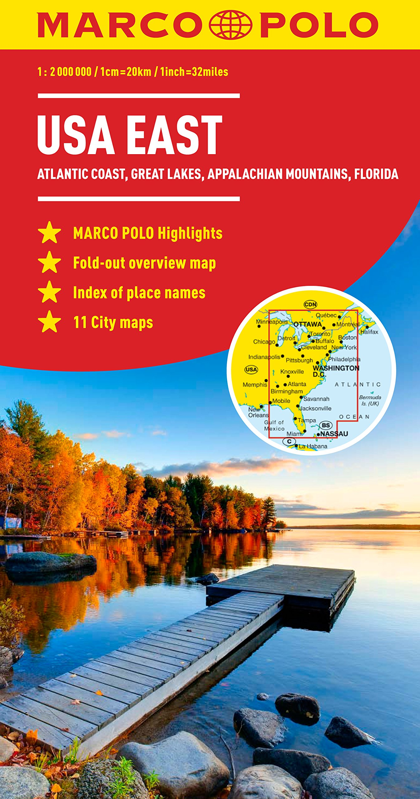 USA East Marco Polo Map Marco Polo Maps Amazoncouk Marco - Us map eastern seaboard