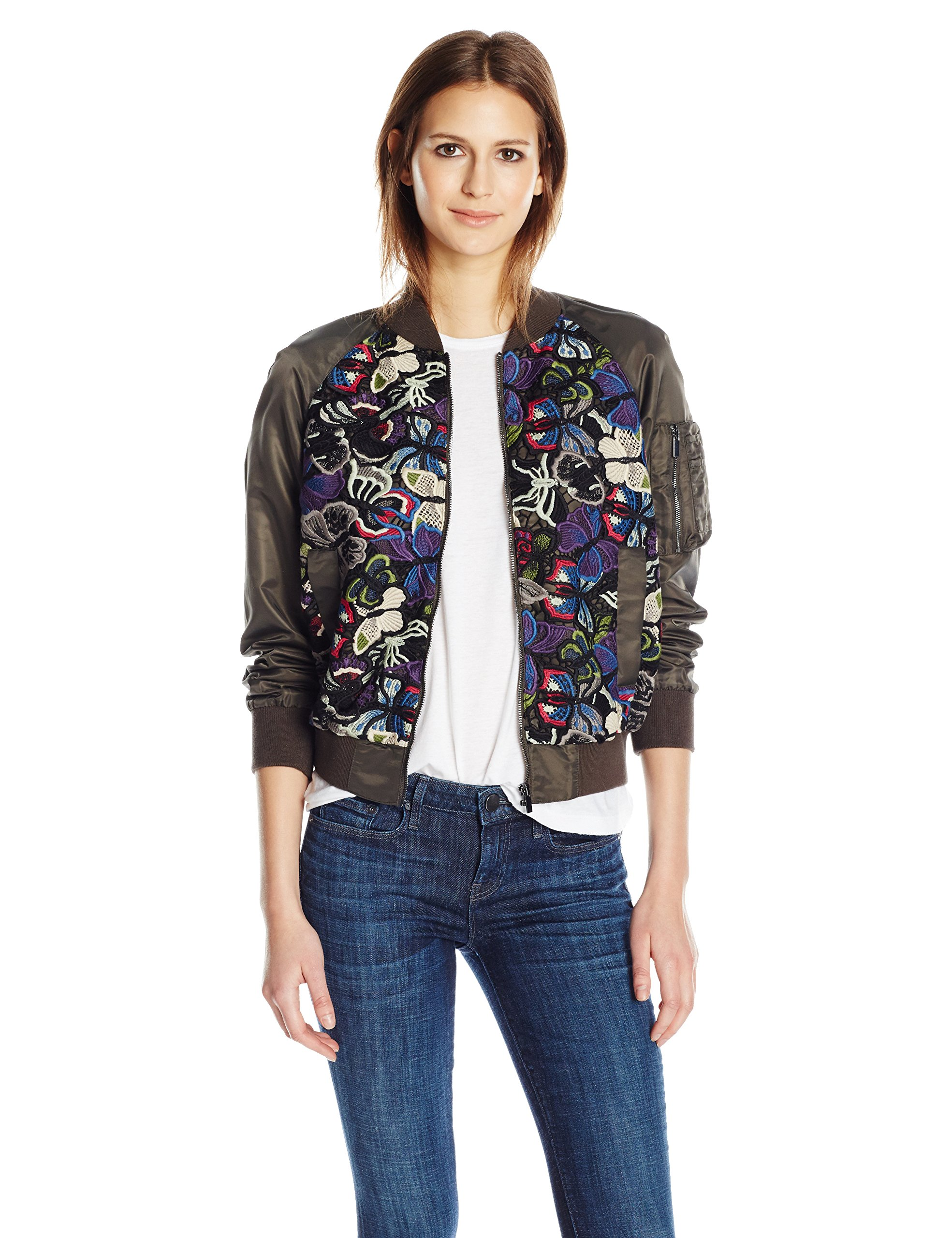 French Connection Women's Rivera Floral Bomber Jacket, Woodland Green/Multi, 2 by French Connection