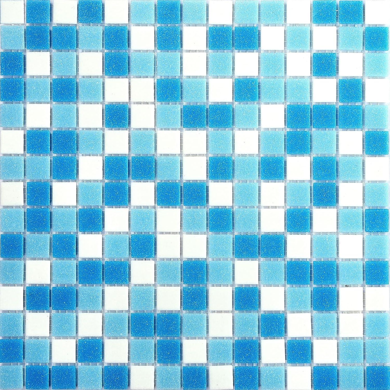 Tapis Mosaï que 10 Verre Carrelage en bleu et blanc. 10 Tapis sont 1.07qm. mt0106 M2 GTDE