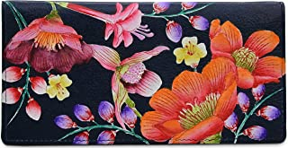 Anuschka Women's Genuine Leather Checkbook Cover | Hand Painted Original Artwork | Moonlit Meadow