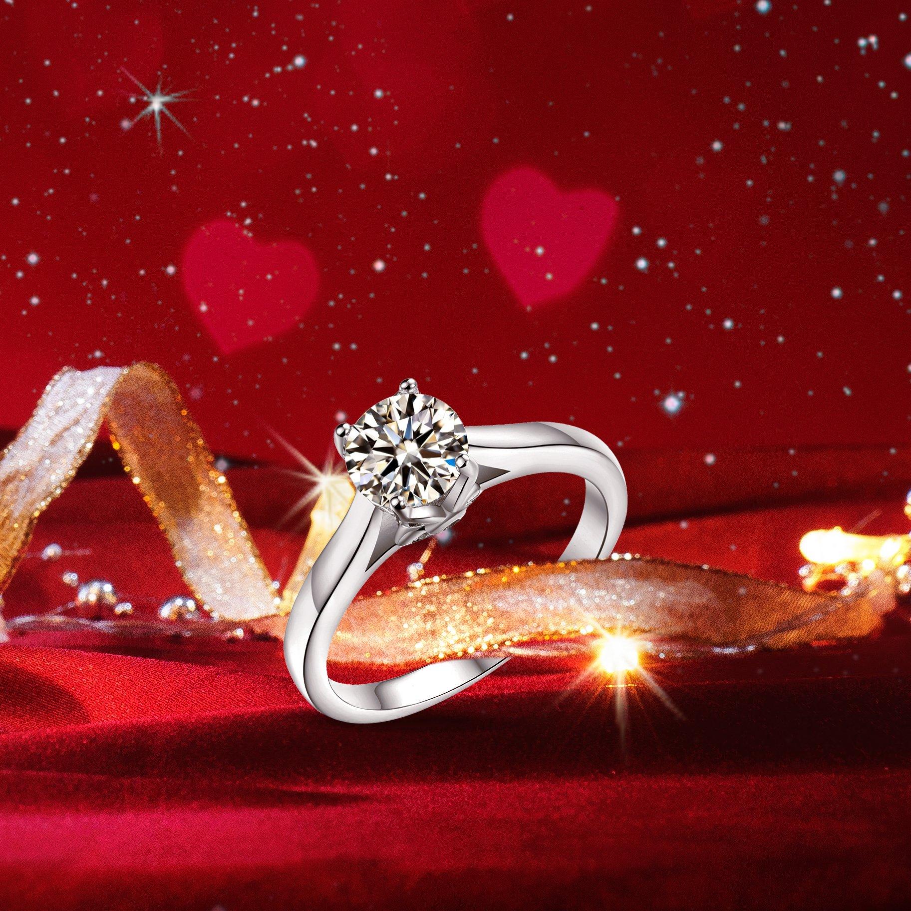 Sreema London 925 Sterling Silver Round Cut Floral Wedding Rings P