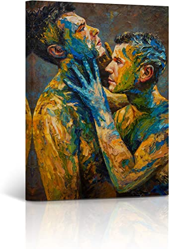 Buy4Wall Fusion Lovers Gay Art Couple Wall Art Oil Painting Canvas Print Naked Artwork Nude Man LGBT Man Sexy Wall Art Stretched and Framed