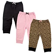 Luvable Friends 3 Pack Tapered Ankle Pants, Leopard, 3-6 Months