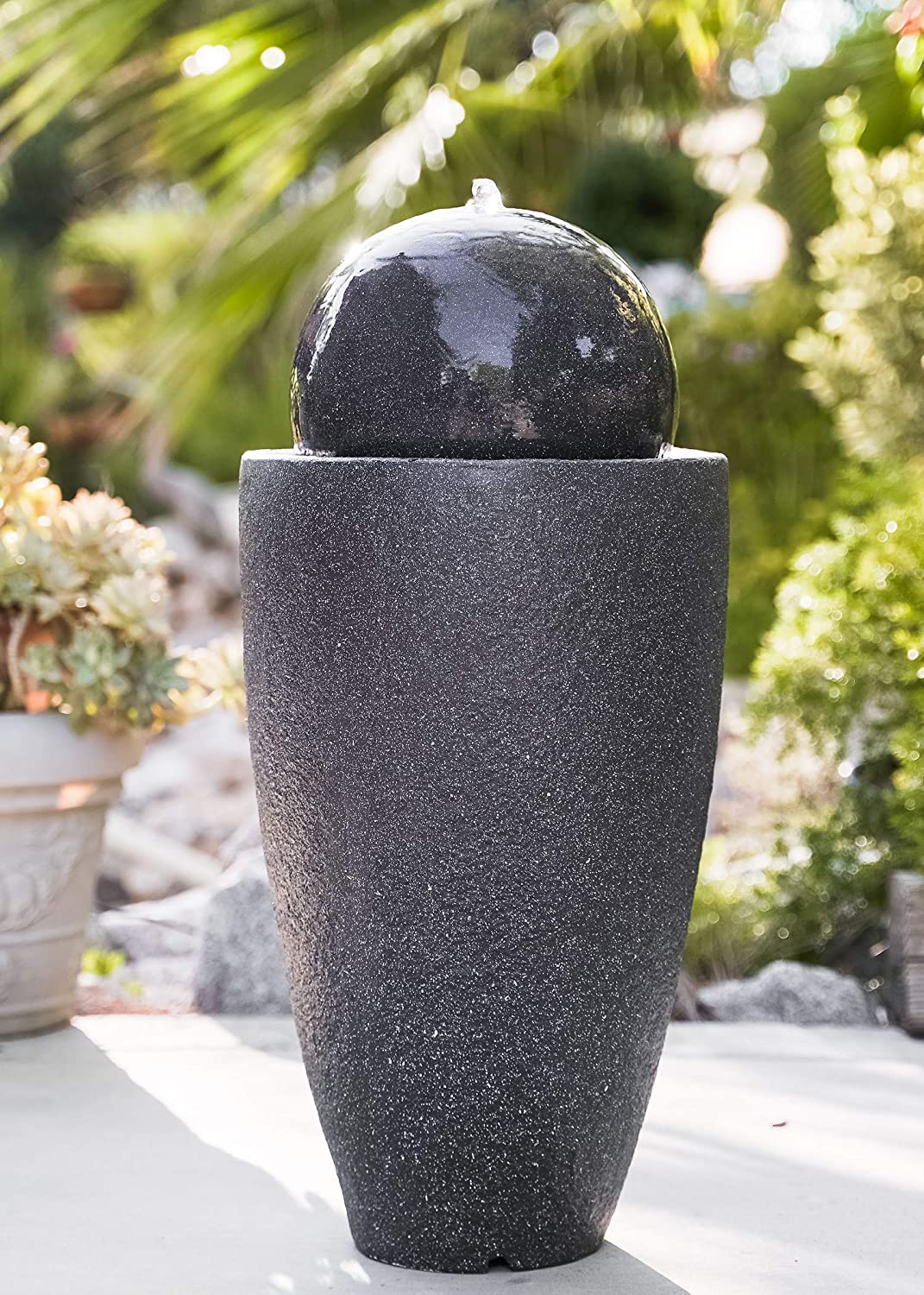 XBrand GE2612FTBK Modern Stone Textured Round Sphere Water Fountain w/LED Lights, Indoor Outdoor Décor, 25.6 Inch Tall, Black