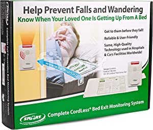 Smart Caregiver Corporation Cordless Bed Exit Monitoring System Alarm with Bed Pressure Sensing Pad - Help Prevent Falls and Wandering While Unattended