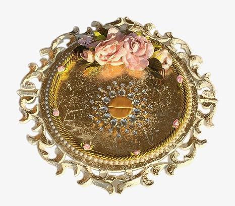 Buy Loops N Knots Golden Carved Wedding Engagement Ring Platter