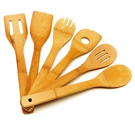 Wooden Spoon Utensil Set - 6 Bamboo Spoons and Spatulas 12 inch Cooking  Utensils in Mesh