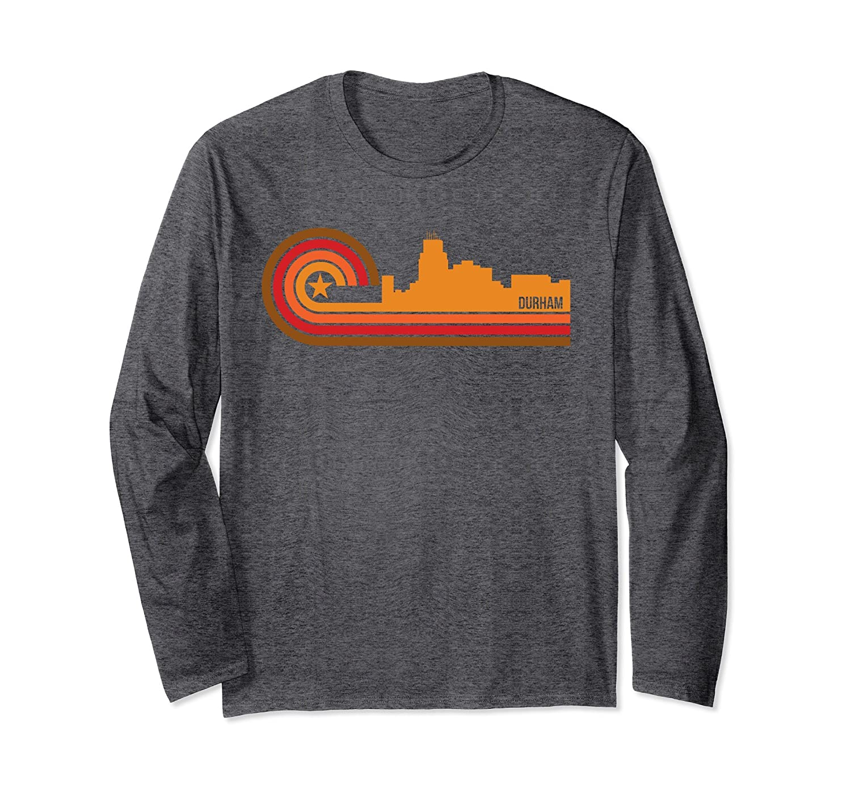Retro Durham North Carolina Skyline Long Sleeve Shirt-Awarplus