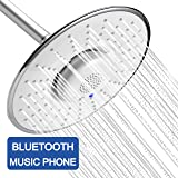 YOO.MEE Bluetooth Fixed Shower Head with Waterproof Bluetooth Speaker- V3.0 w/ HD Sound-12 HRS Playing Time- Make Memorable Music Shower- Make and Receive Calls Showering- Luxury Chrome