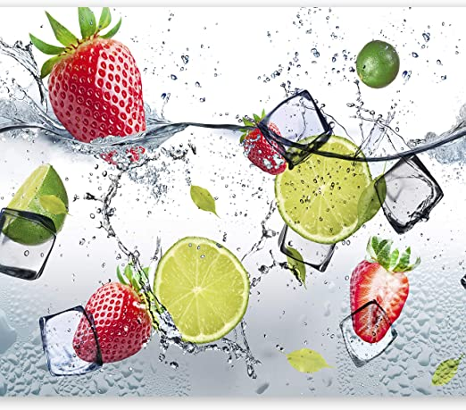 murando - Fototapete Küche 350x256 cm - Vlies Tapete - Moderne Wanddeko -  Design Tapete - Wandtapete - Wand Dekoration - Obst Limone Erdbeere grün ...