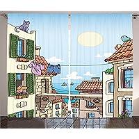 Orange Venue 3D Çift Kanatlı Fon Perde, Kumaş, Şehir Desenli, 180 X 120 cm, 2 Birim