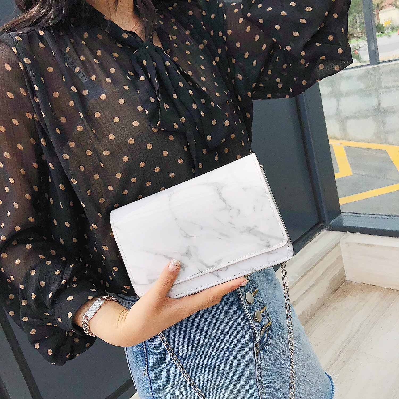 TOOGOO Women New Fashion Summer Marble Pattern Glossy Leather Chic Chain Bag Shoulder Bag Handbags Messenger Bag White