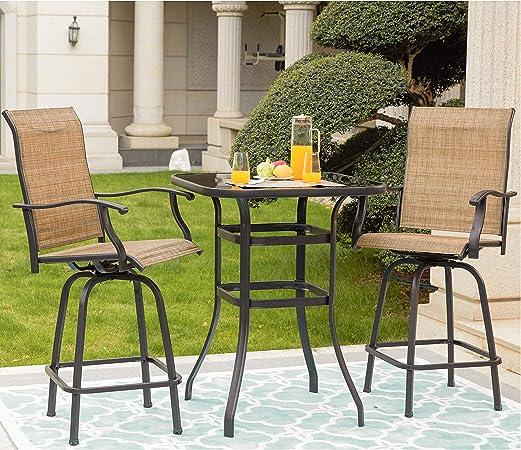 Amazon Com Lokatse Home 3 Pcs High Swivel Stools 2 Tall Chairs And 1 Height Outdoor Bistro Table 3pcs Patio Bar Set Garden Outdoor