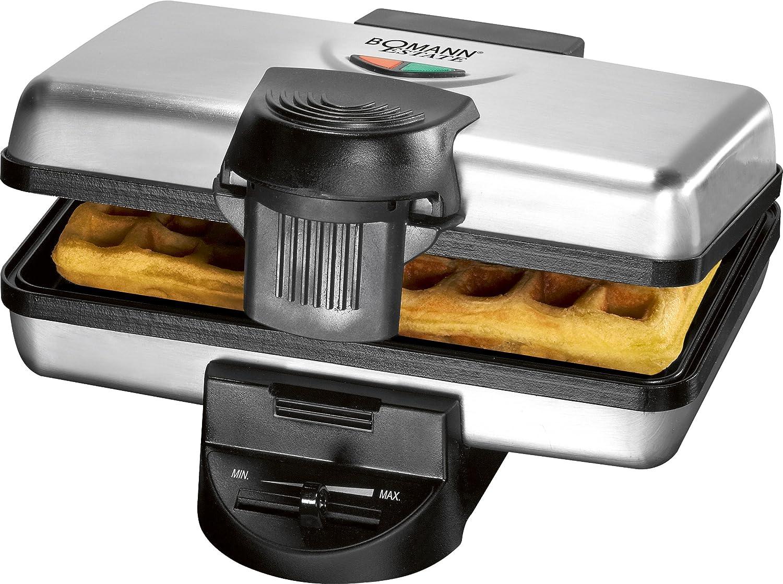 Bomann WA 1349 CB 2waffle 1000W Nero, Acciaio inossidabile piastra per waffle