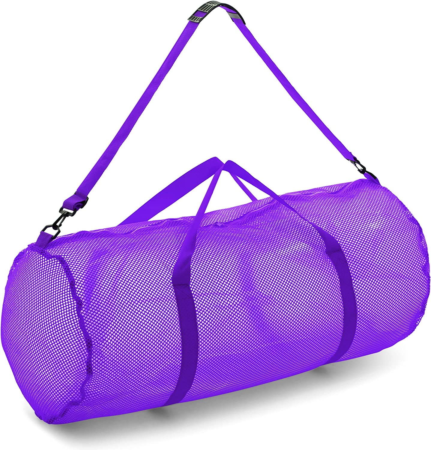"Champion Sports Mesh Duffle Bag with Zipper and Adjustable Shoulder Strap, 15"" x 36"" - Multipurpose, Oversized Gym Bag for Equipment, Sports Gear, Laundry - Breathable Mesh Scuba and Travel Bag"