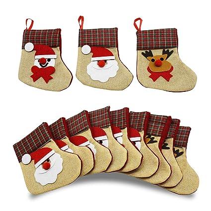 YuQi 12 unidades 3D Mini calcetines de Navidad de lino arpillera Silverware soportes de fieltro rústico