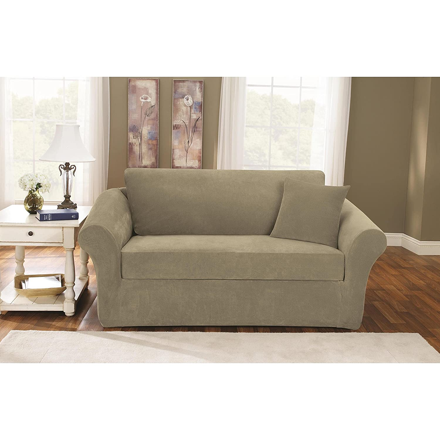 Amazon Sure Fit Stretch Pique Knit Sofa Slipcover Cream