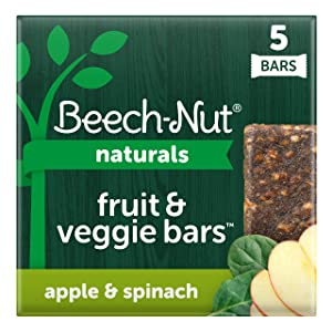 Beech-Nut Naturals Fruit and Veggie Bars, Stage 4, Apple & Spinach, 3 Simple Ingredients (Pack of 8 boxes, 5 count each)